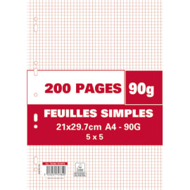 Sachet de 200 pages copies simples grand format A4 petits carreaux 5x5 90g perforées photo du produit