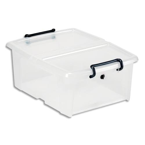 CEP Boîte de rangement SmartBox Strata Transparent, 20L, en PP, couvercle clipsé, L46 x H19 x P37 cm photo du produit Principale L
