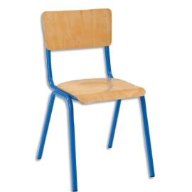 SODEMATUB Lot de 4 chaises scolaire Maxim, hêtre,Bleu, assise 37 x 39 cm, taille 4 photo du produit