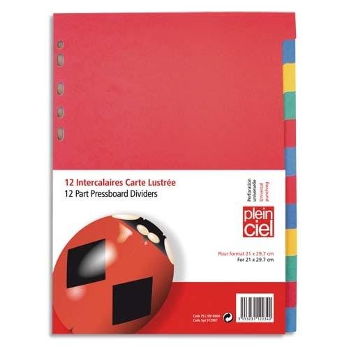 PLEIN CIEL Jeu d'ntercalaires 12 positions en carte lustrée colorée A4 photo du produit Principale L