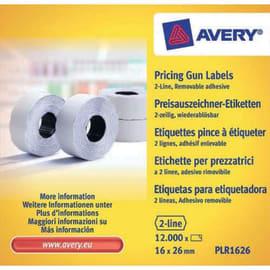 AVERY Boîte 10 rouleaux de 1200 étiquettes 2 lignes (10+ 8 caractères) Blanches adhésif amovible PLR1626 photo du produit
