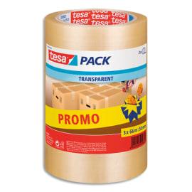TESA Lot de 3 Adhésifs d'emballage en Polypropylène, 43 microns - H50 mm x L66 mètres Transparent photo du produit
