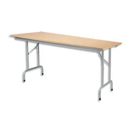 Table pliante Rico, plateau mélaminé Hêtre naturel et structure aluminium - Dim. L160 x P80 cm photo du produit
