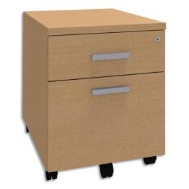 SIMMOB Caisson mobile 2 tiroirs dont 1 DS Steely Hêtre en bois - Dimensions : L43 x H56 x P60 cm photo du produit