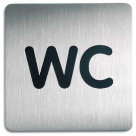 DURABLE Plaque Picto carré WC en acier brossé inoxydable - 15 x 15 cm - Argent métallisé photo du produit