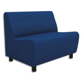 Chauffeuse modulaire 2 places Izar Bleu roi Trevira en tissu polyester, structure métallique photo du produit