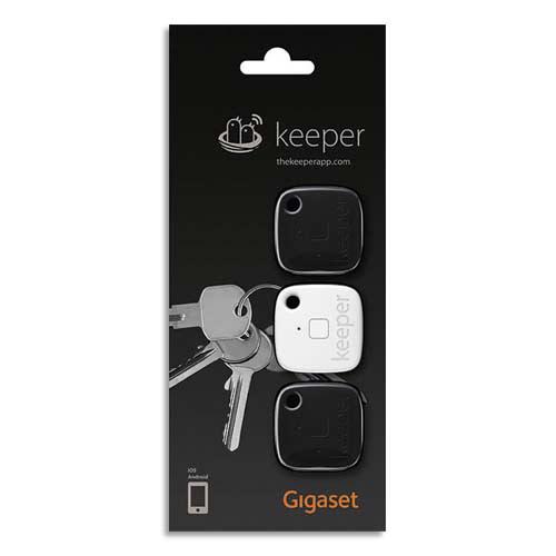 GIGASET Localisateur de clés Keeper Pack de 3 (2 Noir, 1 Blanc) S30852-H2755-R111 photo du produit Principale L
