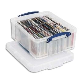 REALY USEFUL BOX Boîte de rangement 18L + couvercle, Dimensions L48 x H20 x P39 cm coloris transparent photo du produit