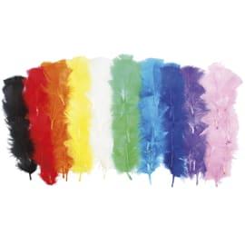 SODERTEX Pack de Plumes de dinde Thème Multicolore 10 coloris assortis, 25g, Longueur 12 à 18 cm photo du produit