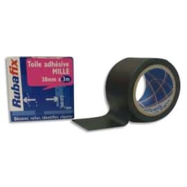 RUBAFIX Toile adhésive MILLE, plastifiée et imperméable, rouleau de 38mmx 3m Noir photo du produit