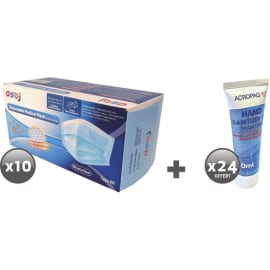 Lot de 10 boîtes de 50 masques chirurgicaux + 24 flacons gel 80 ml offerts photo du produit
