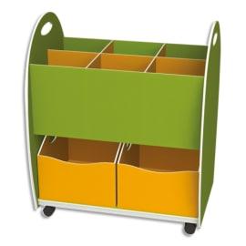 PAPERFLOW Meuble bas dessus 6 cases 2 tiroirs anis Orange livré monté photo du produit