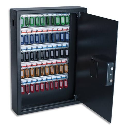 PAVO Armoire à clés électronique Gris foncé, capacité 50 clés - Dimensions : L40 x H56 x P10 cm photo du produit Principale L
