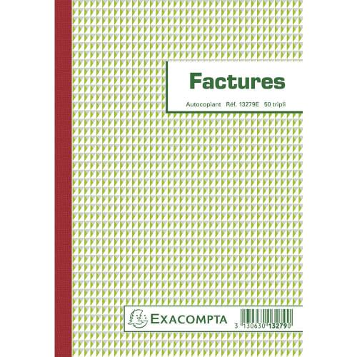 EXACOMPTA Manifold Factures 21x14,8cm - 50 feuillets tripli autocopiants photo du produit Principale L