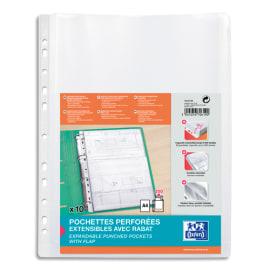 OXFORD Sachet de 10 pochettes-plan avec rabat en polypro lisse 20/100e. Format A4, perforation 11 trous photo du produit