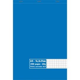 Bloc 60g agrafé en tête 200 pages petits carreaux 5x5. Format A5 14,8 x 21 cm photo du produit