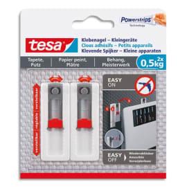 TESA Blister de 2 clous adhésif ajustable pour petit appareil -0,5kg sur mur peint et papier peint photo du produit