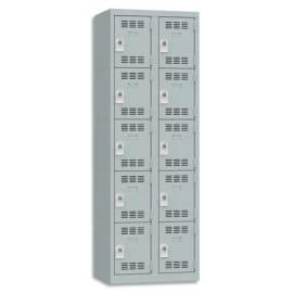 PIERRE HENRY Vestiaire 5 Cases + 2 Colonnes - Dimensions : L60 x H180 x P50 cm Gris perle photo du produit