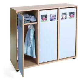 MOBEDUC Vestiaire pour 6 enfants 104 x 40 x 101 cm, Bleu lavande photo du produit