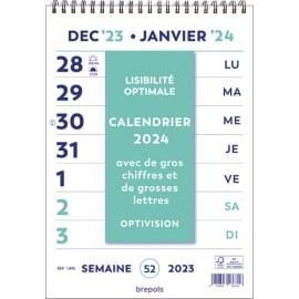 BREPOLS Calendrier Optivision FR, spiralé, Grille Wire-o, caractères agrandis - format : 21 x 29,7 cm photo du produit