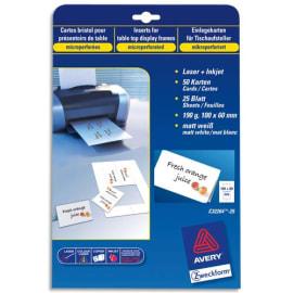 AVERY Pochette de 250 cartes de visite (85x54 mm) 270g coins droits Laser finition mate photo du produit