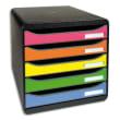EXACOMPTA Module de classement 5 tiroirs BIG BOX - Dim : L27,8 x H27,1 x P34,7 cm. Coloris Noir/arlequin. photo du produit