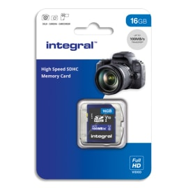 INTEGRAL Carte Micro SDHC+adaptateur 16Go Class 10 V10 INMSDH16G-100V10 photo du produit