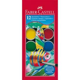 FABER CASTELL Boîte plastique de 12 pastilles de peinture gouaches + 1 pinceau photo du produit