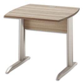 GAUTIER OFFICE Table bureau pied métal avec voile de fond Jazz Chêne Gris foncé - Dim. L80 x H74 x P80 cm photo du produit