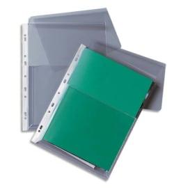 Paquet de 10 pochettes-plan à rabat en PVC 19/100e incolore, perforation 11 trous photo du produit