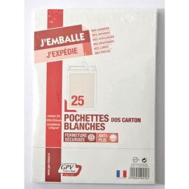 GPV Paquet de 25 pochettes vélin Blanc dos carton format C4 120g auto-adhesives 570 photo du produit