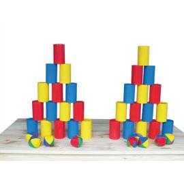 FIRST LOISIRS Chamboule tout comprenant: 30 Boîtes plastique + 9 balles à grains photo du produit