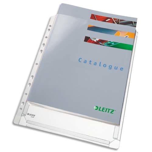 ESSELTE Sachet de 10 pochettes à soufflets pour revues, en PVC 18/100e, perforation 11 trous photo du produit Principale L