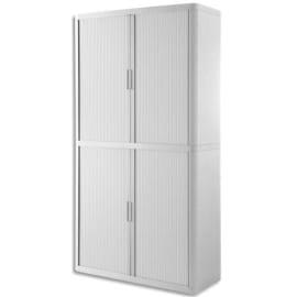 PAPERFLOW EasyOffice armoire démontable corps en PS teinté et rideau Blanc - Dim L110x H204x P41,5 cm photo du produit