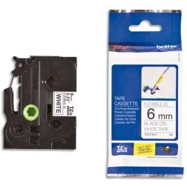 BROTHER Ruban pour PTOUCH flexible laminé Noir/Blanc 6mmx8m TZEFX211 photo du produit