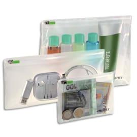LEITZ Sachet de 3 pochettes enveloppes à zip Traveller PVC 2/10ème, format XS/S/M, coloris transparent photo du produit