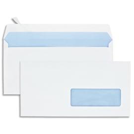 Boîte de 500 enveloppes Blanches 80g DL 110x220 mm fenêtre 35x100 mm auto-adhésives photo du produit