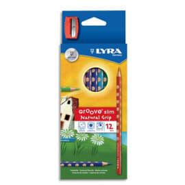 LYRA Etui de 12 crayons de couleurs ergonomiques triangulaires Groove Slim,, couleurs assorties photo du produit