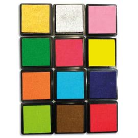 SODERTEX Pack de 12 encreurs empreinte digitale 12 coloris Assortis, en mousse EVA, Dimensions 4 x 4 cm photo du produit
