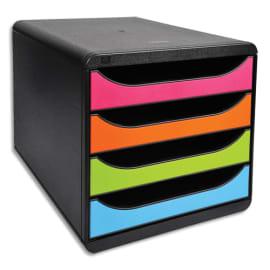 EXACOMPTA Module de classement Big-Box Noir Arlequin 4 tiroirs, en PS format A4+ L27,8 x H26,7 x P34,7 cm photo du produit