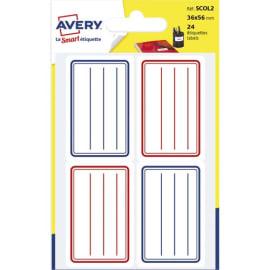 AVERY Sachet de 24 étiquettes scolaires lignées Bleu et Rouge 36 x 56 mm. photo du produit