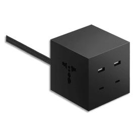 MOBILITY LAB Cube de charge universel Icon Noir 2 ports USB-A + 2ports USB-C + 2prises univ ICON_EUBLK photo du produit
