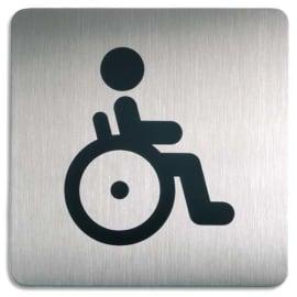 DURABLE Plaque Picto carré Toilettes Handicapés en acier brossé inoxydable -15x15cm- Argent métallisé photo du produit