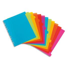 VIQUEL Jeu de 12 intercalaires polypropylène HAPPYFLUO A4 maxi. Coloris fluo multicolores photo du produit