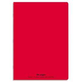 CONQUERANT C9 Cahier piqûre 17x22cm 96 pages 90g grands carreaux Séyès.Couverture polypropylène Rouge photo du produit