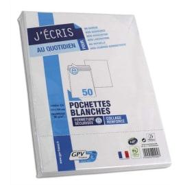 GPV Paquet de 50 pochettes vélin Blanc auto-adhésives 90g format C4 229 x 324 mm photo du produit