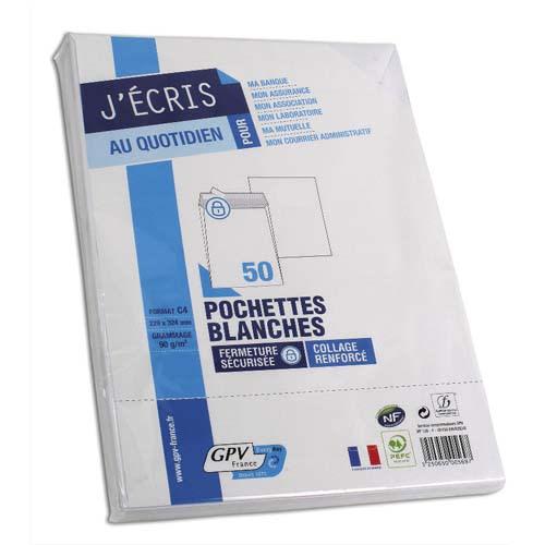 GPV Paquet de 50 pochettes vélin Blanc auto-adhésives 90g format C4 229 x 324 mm photo du produit Principale L