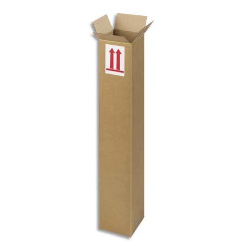 Caisse longue en carton brun simple cannelure - Dimensions : L80 x H15 x P15 cm photo du produit Principale L
