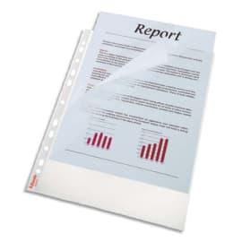 LEITZ Boîte de 100 pochettes perforées A4,en polypropylène grainé 8,5/100è incolore. Ouverture 2 côtés photo du produit