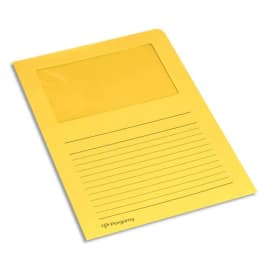 PERGAMY Paquet 100 pochettes coin en carte 120g avec fenêtre. Dimensions 22 x 31 cm. Coloris Jaune clair photo du produit